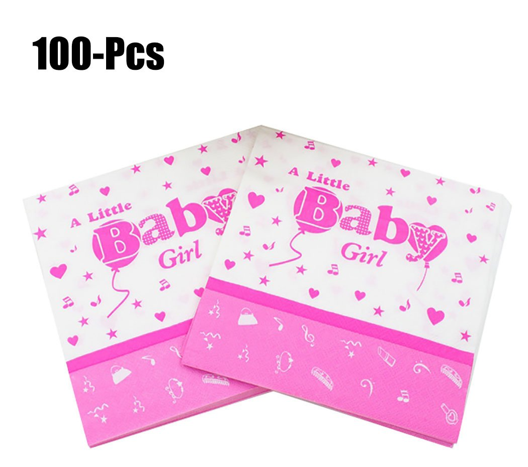 Coxeer 100PCS Baby Birthday Napkin Paper Napkin Creative Beverage Napkin for Baby Shower Party