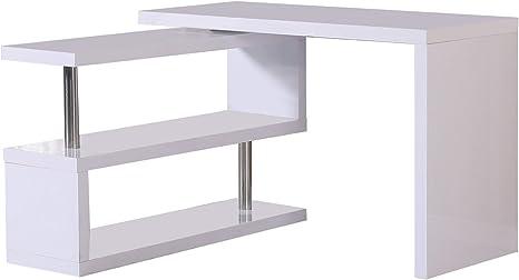 HOMCOM Mesa Ordenador Mueble Escritorio con estantería Multi-Angle ...