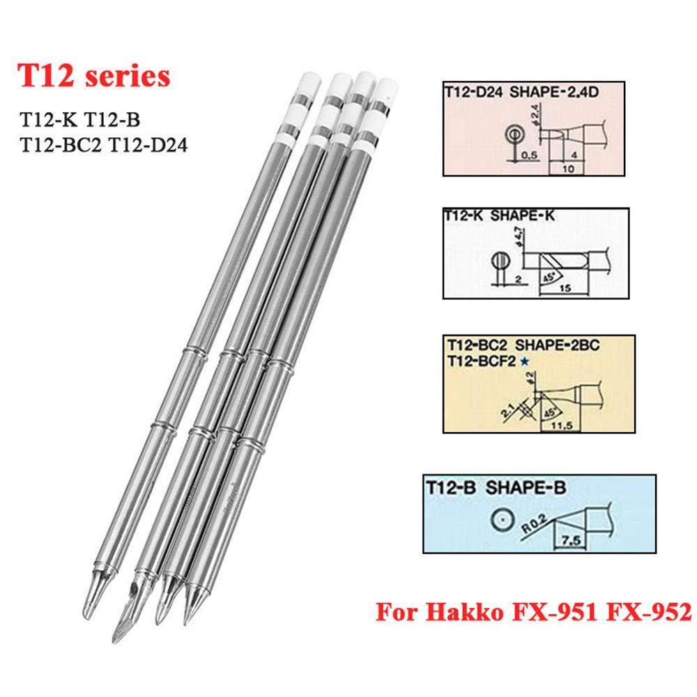 Pack of 4pcs T12 T12-K T12-B T12-D24 T12-BC2 Soldering Solder Iron Tip For Hakko
