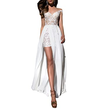 Fishlove Sexy vestido de novia High Low Lace Chiffon Wedding Dresses With Sleeves W3