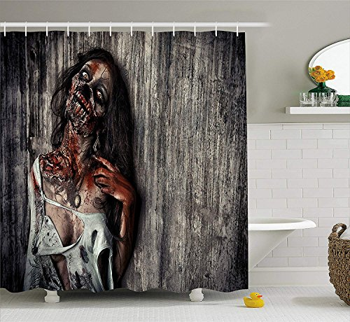 U coolhouse Zombie Decor Shower Curtain, Angry Dead Woman Sacrifice Fantasy Mystic Night Halloween Image, Fabric Bathroom Decor Set with Hooks, 84 inches Extra Long, Dark Taupe Peach Red -