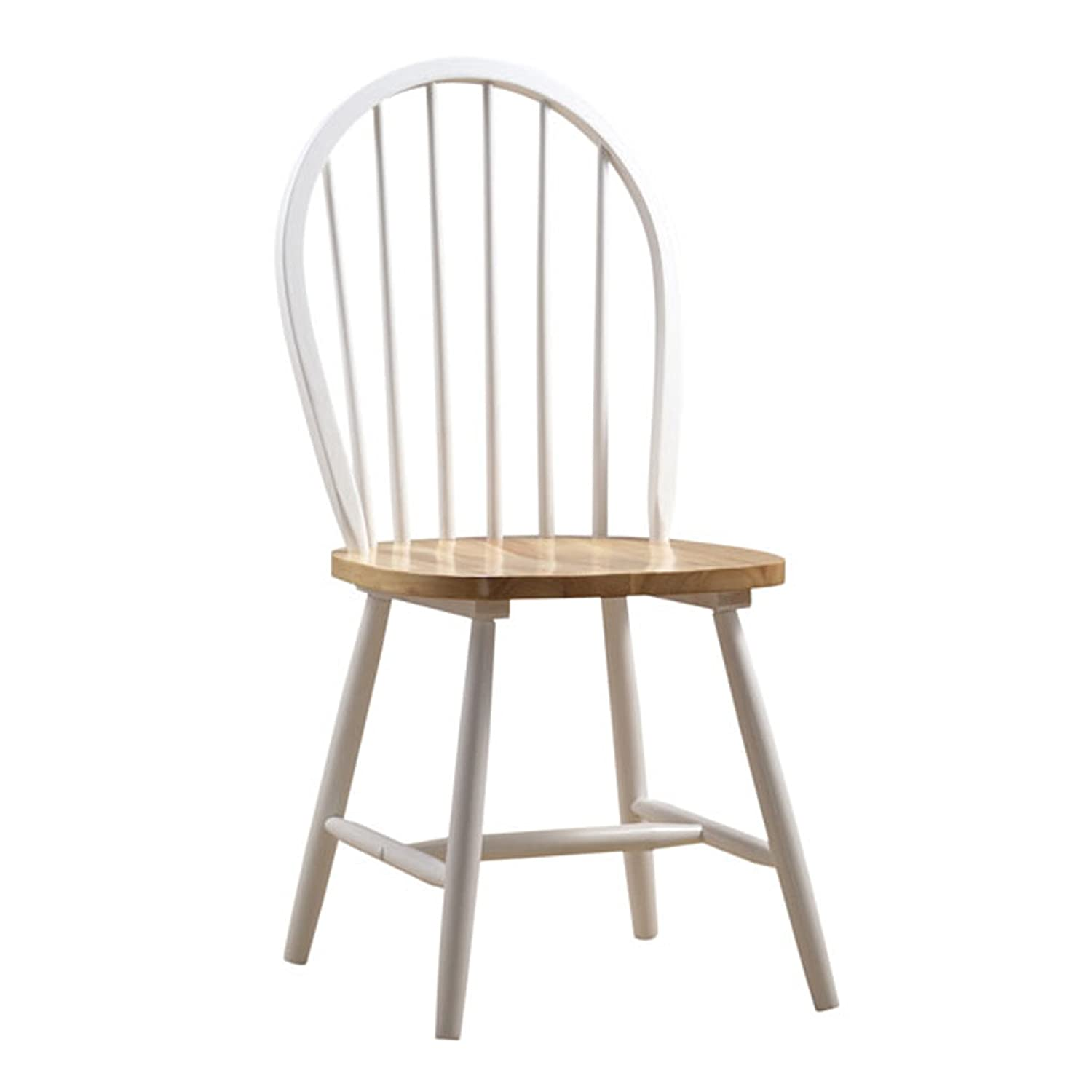 Boraam 31316 Farmhouse Chair, White/Natural, Set of 2
