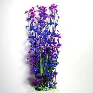 Aquapapa Aquarium Decor Plants Fish Tank Decorations Ornament Plastic Artificial Plant (Blue/Purple - 14