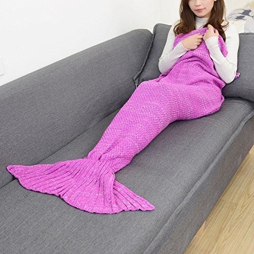 Du poisson européen meimei couverture couvertures knitting knitting queues de poisson et la climatisation couverture Noël cadeaux cadeaux pour enfants de ,140*70cm, rouge