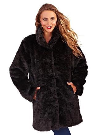 Ladies Black Faux Fur Coat (Small): Amazon.co.uk: Clothing