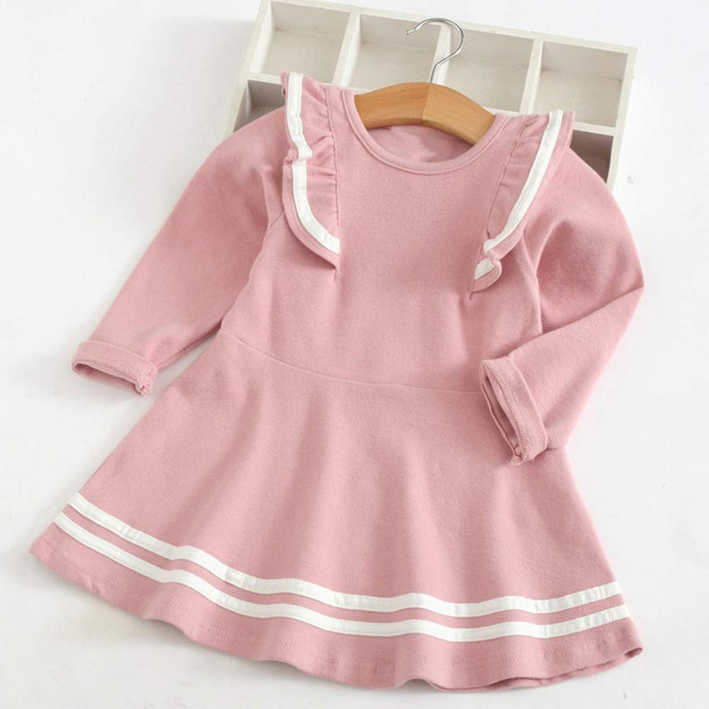 KONFA Teen Toddler Baby Girls Preppy Chic Ruffles Dress,for 1-6 Years,Little Princess Long Sleeve Skirt Clothes Set