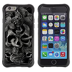 King Case@ Skull Rock Roll Metal Ink Tattoo Black Rugged hybrid Protection Impact Case Cover For iPhone 6 Plus CASE Cover ,iphone 6 5.5 case,iPhone 6 Plus cover ,Cases for iPhone 6 Plus 5.5