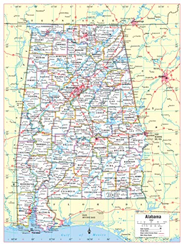 Cool Owl Maps Alabama State Wall Map Poster Rolled (Laminated 24'x32')
