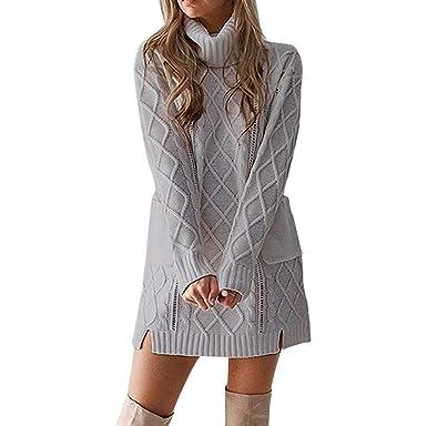 Longra Damen Winter Rollkragen Pulloverkleid Strickkleid Tunika Kleid  Langarm Warme Winter Kleider Minikleid mit Tasche Frauen cdfd66ad5b