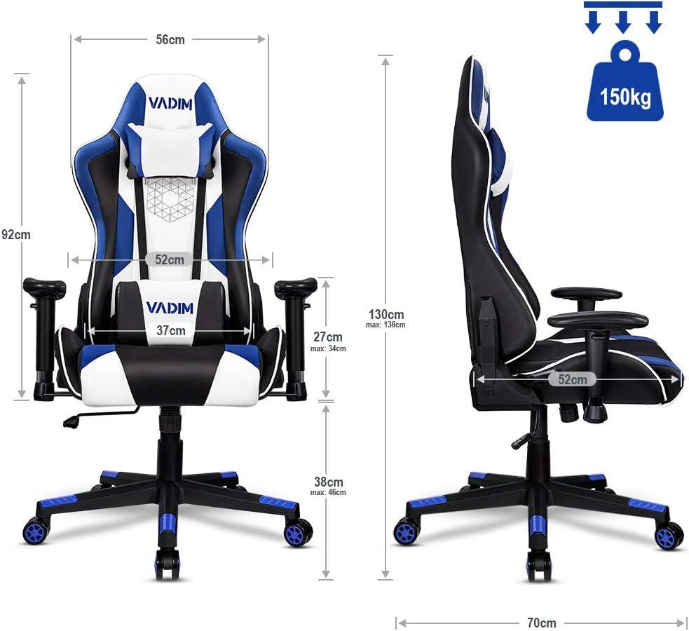 VADIM Sedie Gaming Ergonomica Sedie da Ufficio Gioco Girevole Sedia per Computer Regolabile da Scrivania Poltrona Rosso