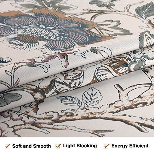 H.VERSAILTEX Window Valance Rustic Style Ultra Soft Material Suits Kitchen Bath Laundry Bedroom Living Room (Rod Pocket, 58 15 inch, Vintage Floral Pattern in Sage Brown, Set of 1) by H.VERSAILTEX (Image #3)'