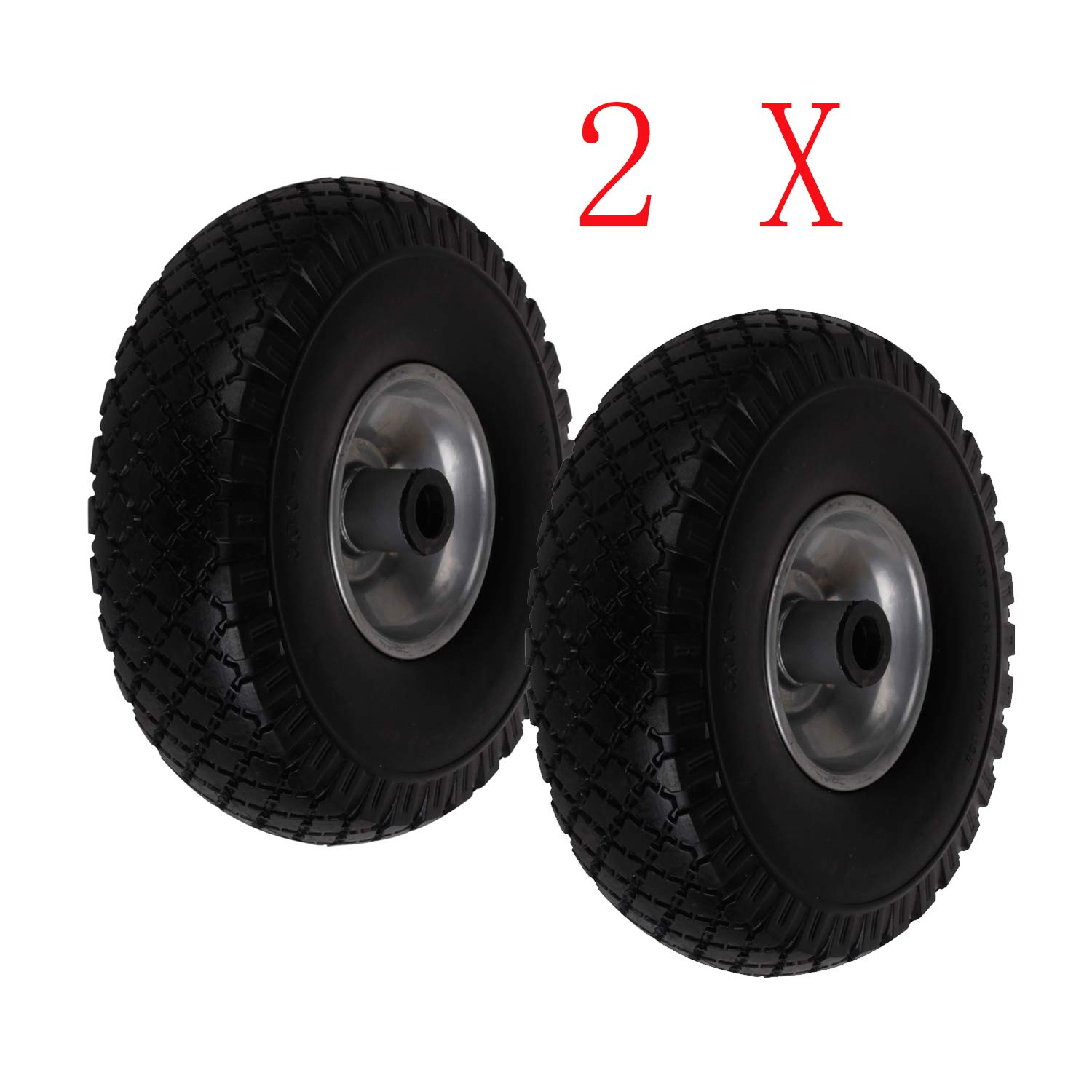 Miafamily Sack Truck Hand Trolley Cart Wheelbarrow Solid Rubber Wheel Tyre Tires PU Puncture Proof wheel Black 3.00-4/ 260 mm Max Load 100 kg
