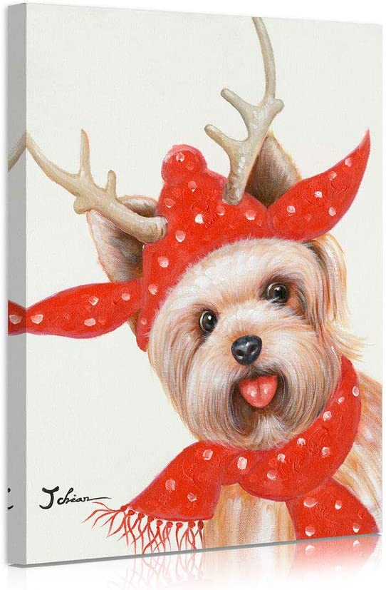 """B BLINGBLING Happy New Year Dog Wall Art: Smile Terrier Picture with Christmas Hat and Scarf for Girls Bedroom Canvas Wall Art Gifts 12""""x16"""""""