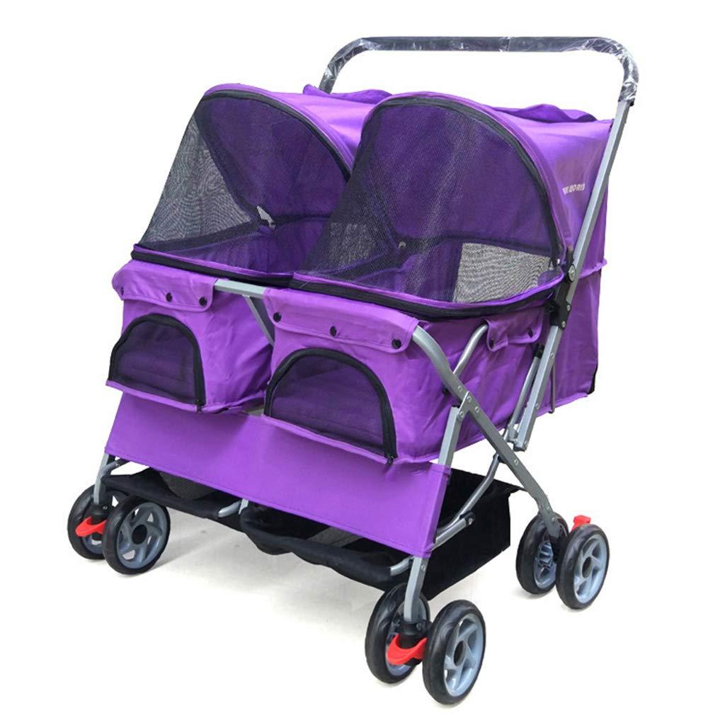 Kitzen Pet Double Double Trolley Dog/Cat 4 - Wheel Travel Straps Carriage Folding - Durable, Big, Load 40Kg,Purple
