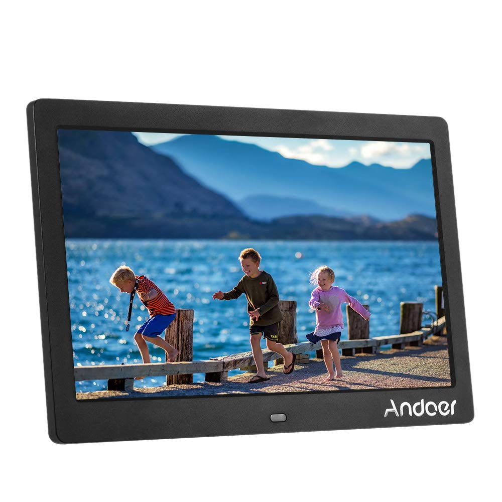 Andoer Digital Photo Picture Frame 10 inch Wide Screen High Resolution HD LCD 1024x600 Clock MP3 MP4 Video Player with Remote Control by Andoer