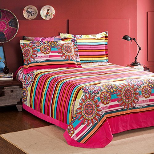 Teenager Girls and Boy U686 Leaf Multi Color Boho Duvet Cover Set
