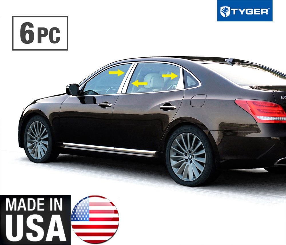 Made In USA! Works With 2012-2017 Hyundai Equus 6PC Stainless Steel Chrome Pillar Post Trim MaxMate