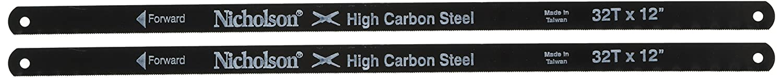COOPER HAND TOOLS NICHOLSON 63280 32 TPI Standard Shatterproof Hacksaw Blade (Set of 2),12
