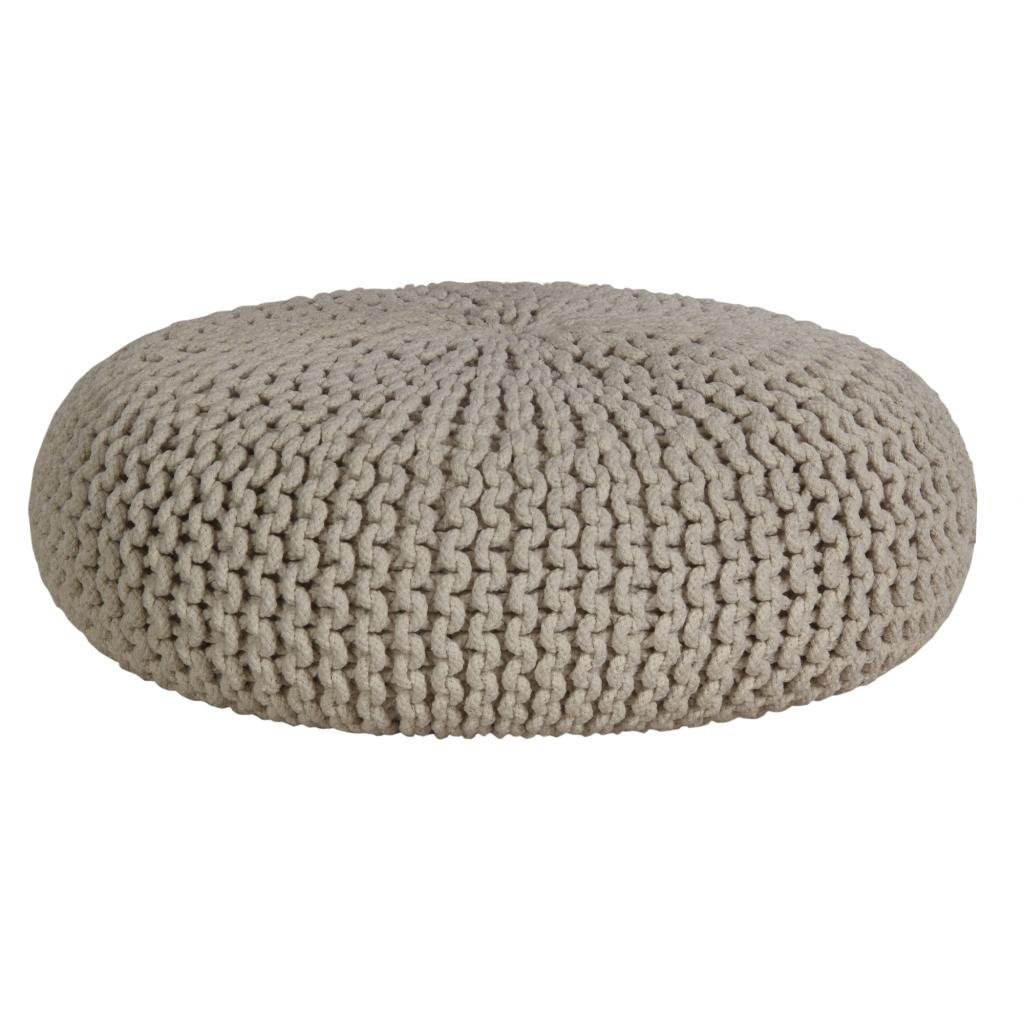 Homescapes Natural Knitted Pouffe Footstool Occasional Seat Bean Filled 100/% Cotton for Living Room Children or the Elderly