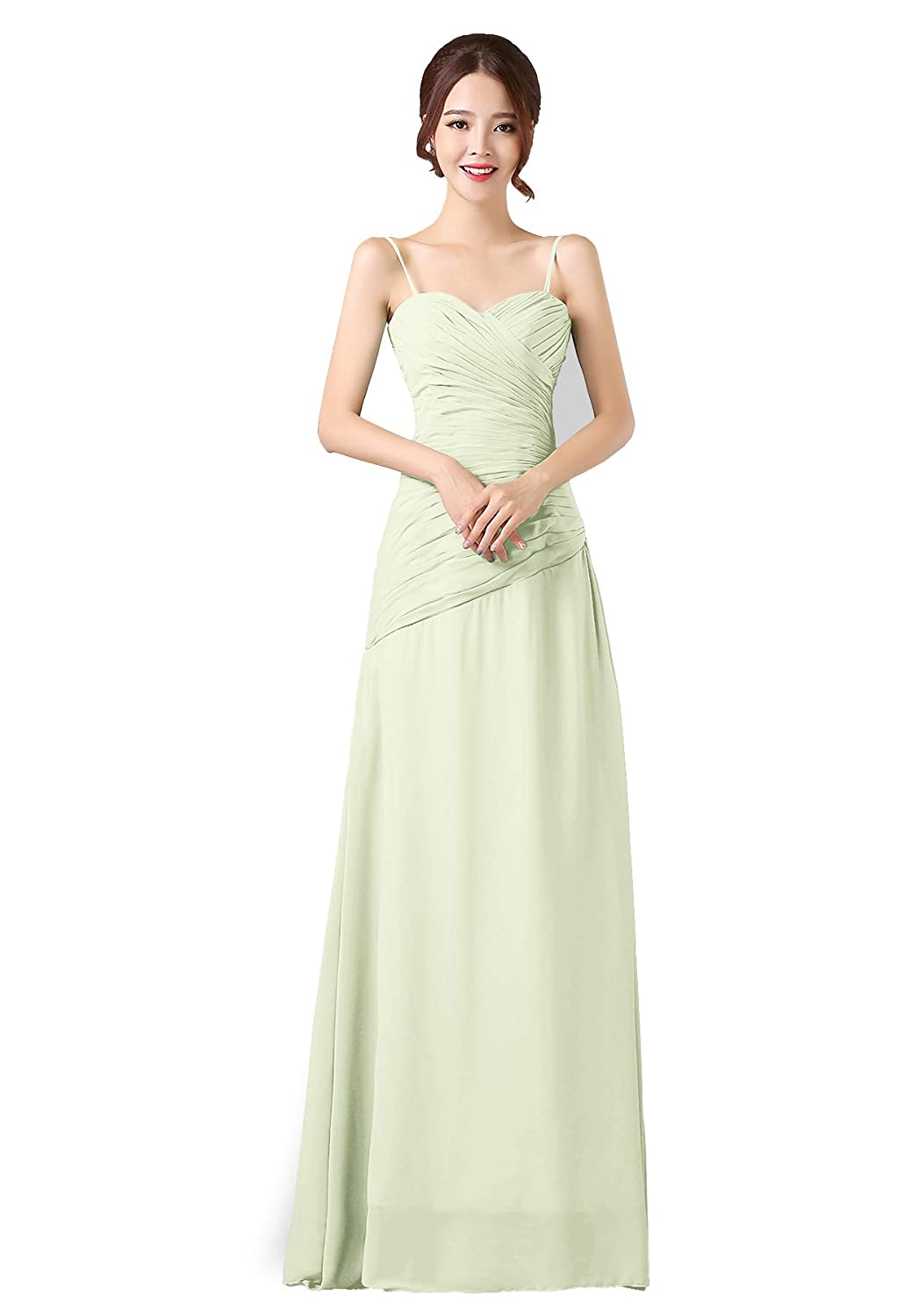 Pastel Green ANGELWARDROBE Spaghetti Straps Bridesmaid Dresses Long Oblique Ruffles Party Prom Gowns