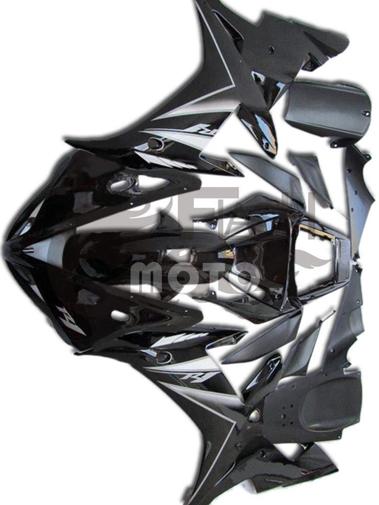 FlashMoto yamaha ヤマハ YZF-1000 R1 2002 2003用フェアリング 塗装済 オートバイ用射出成型ABS樹脂ボディワークのフェアリングキットセット ブラック   B07LF21VSW