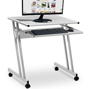 Deuba | Mesa para ordenador | con bandeja para teclado | con ruedas | 62x48x73cm | Color Blanco |: Amazon.es: Hogar