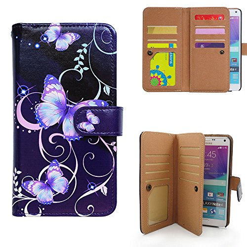 Bfun Packing Bcov Multi-Function Butterfly Leather Wallet Case for Samsung Galaxy Note 4 (Galaxy Note 4 Leather Wallet Case)
