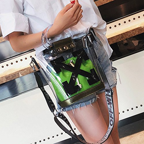 Great St. DGF Bolsos Transparentes, Bolsos de plástico de Moda de Verano, Bolso de Hombro de Mujer, Bolsos Grandes de gelatina. (Color : Azul) Verde