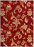 Antep Rugs Siesta Collection Contemporary Floral Polypropylene Indoor Area Rug (Maroon/Beige, 5′ X 7′) For Sale