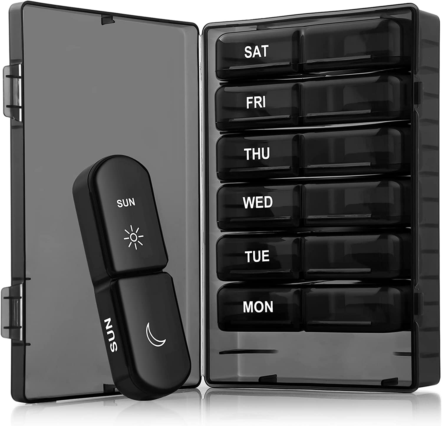 Large Weekly Pill Orgaizer 2 Times A Day, Gelibo Portable Day/Night Pill Box Case Medicine Organizer for Vitamin, Fish Oil, Pills, Supplements-Arthritis Friendly