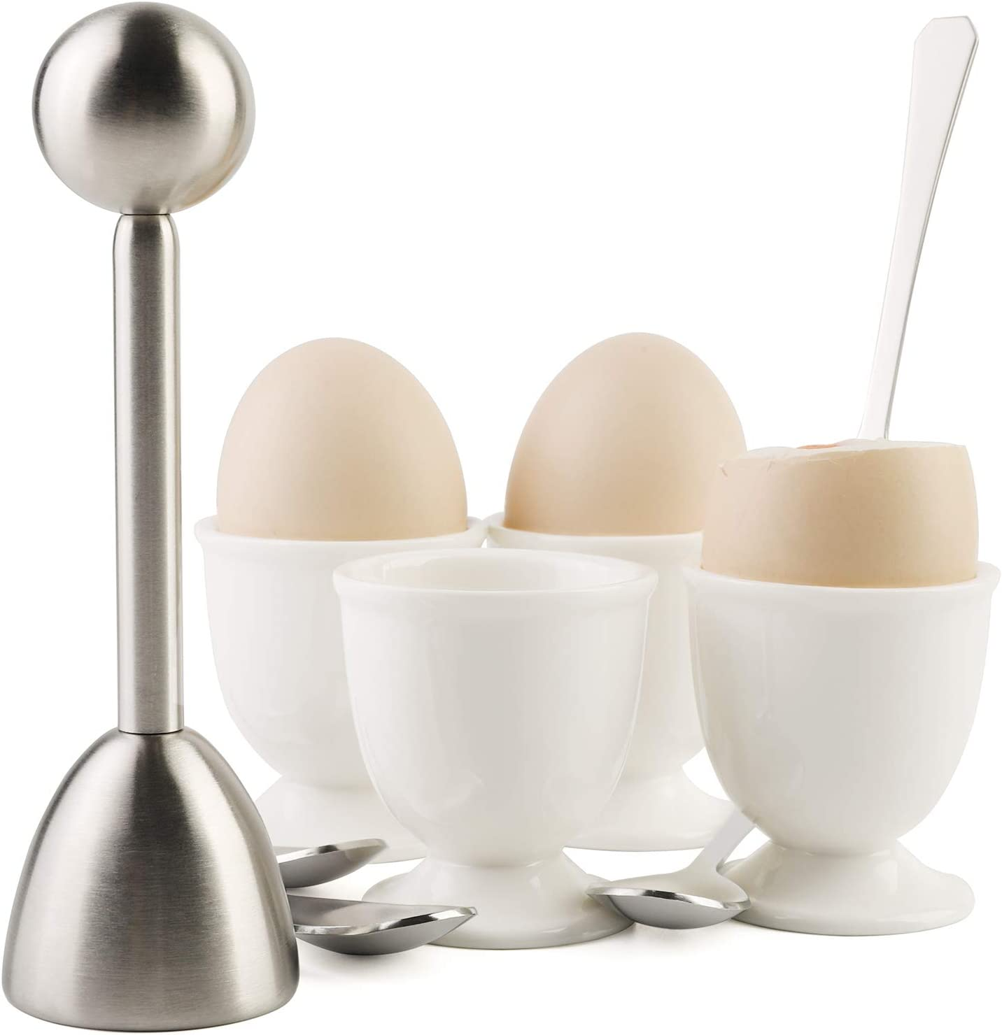 Egg Cracker Topper Set for Soft Hard Boiled Eggs Shell Removal Includes 1 Egg Cutter 4 Ceramic Egg Cups and 4 Spoons