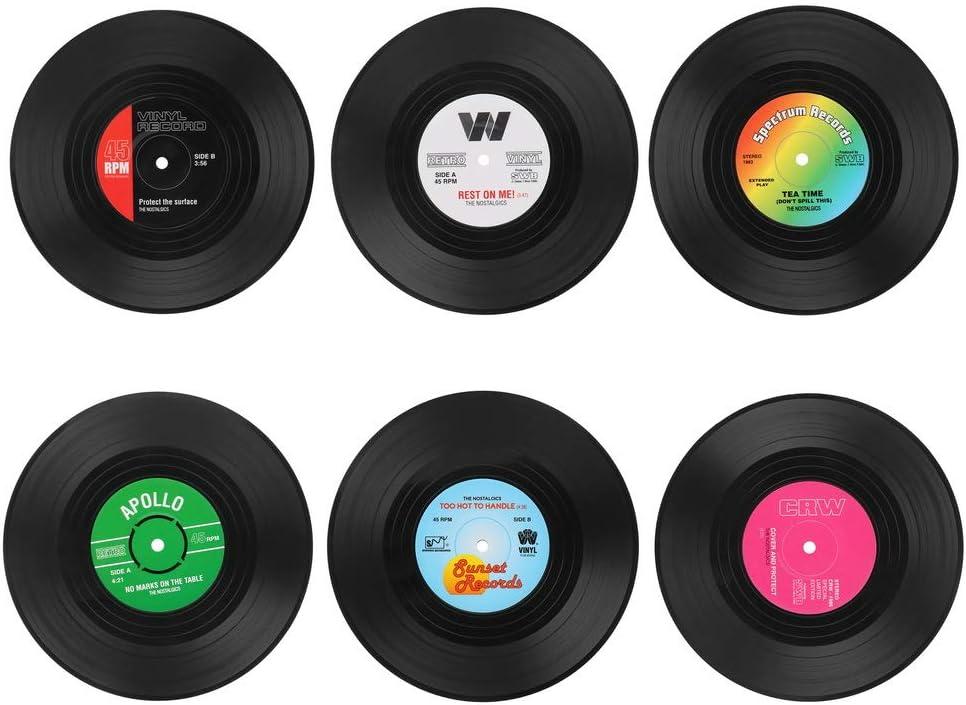 6 posavasos con forma de discos de vinilo por sólo 3,31€