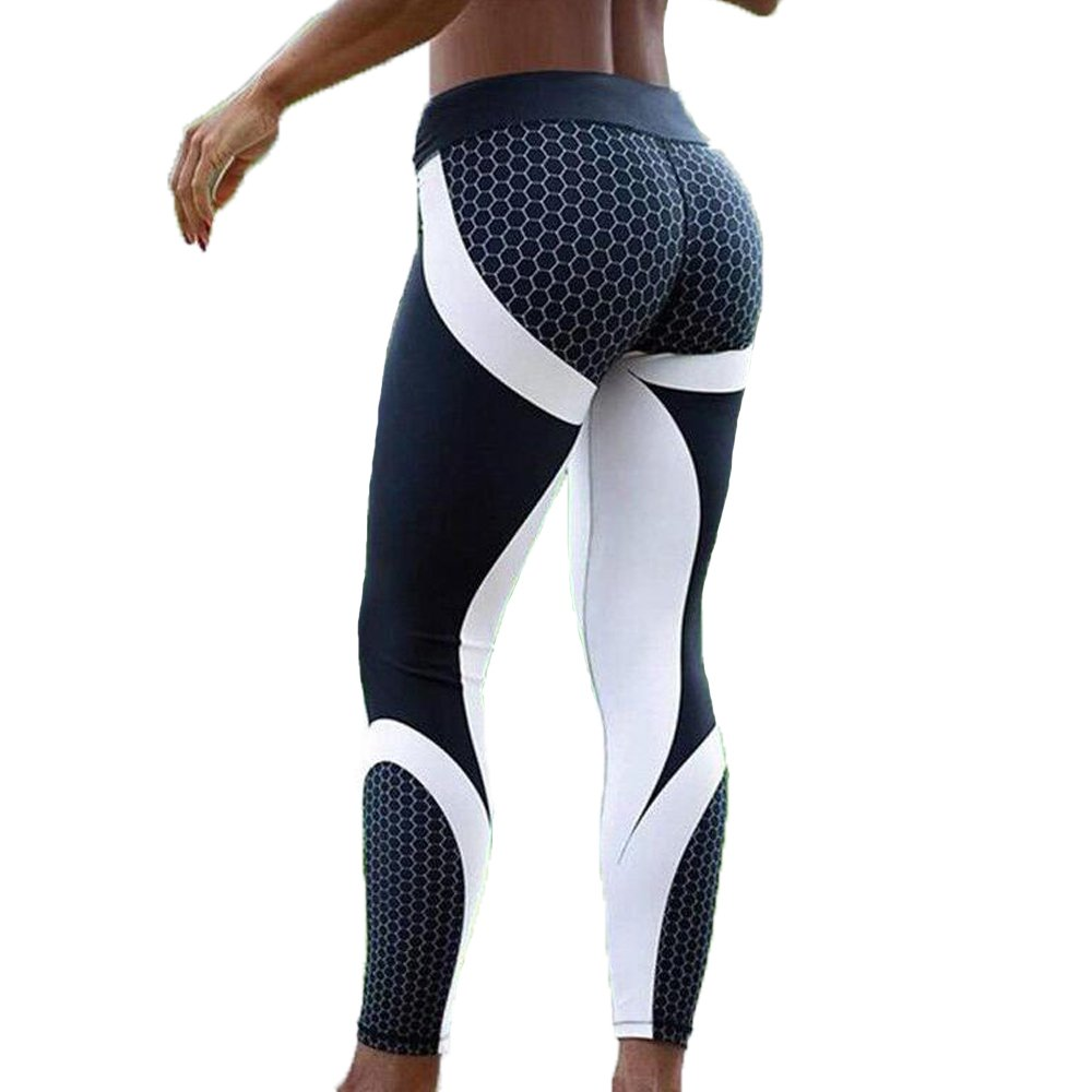 FITTOO Women 3D Honeycomb Leggings Yoga Pants Gym Workout Running Trousers XL