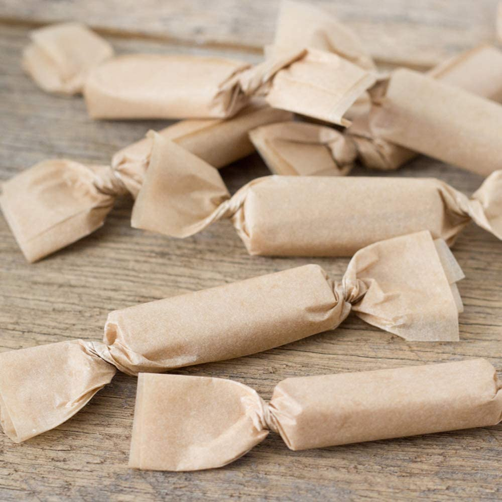 and Taffy Natural Kraft Parchment 5 x 5 Squares Wrappers for Caramels Pack of 200 Unbleached Non-Stick Silicone Coated Brown Paper Candy