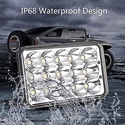 Catinbow 4x6 Inch LED Headlights 45W Rectangular H4656 H4651 4652 H4652 H4666 H6545 4651 Hi/Low Beam LED Sealed Beam Headlight 4X6 Assembly for Jeep Wrangler Freightliner Kenworth Peterbilt - 4PCS: Automotive