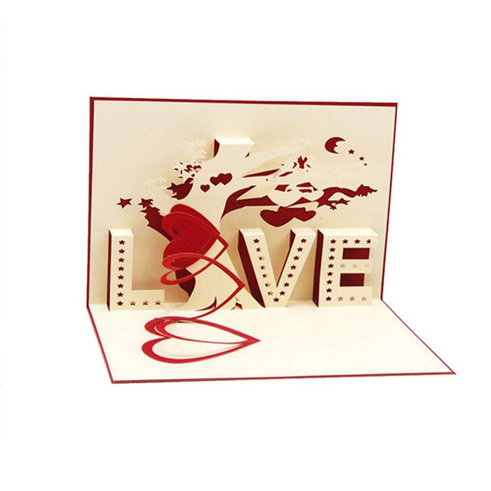 Biglietto Pop Up Floreale 3D - Lettere d'amore Ti amo Cuore - Romantici biglietti d'auguri Pop-Up per compleanni, Natale, Capodanno, anniversari, San Valentino, matrimonio, laurea, ringraziamento. PopUpGift