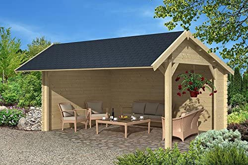 PRIKKER-Gartenhaus Jardín Casa Leipzig Refugio de Bloque Madera casa 500 x 350 cm – 45 mm: Amazon.es: Jardín