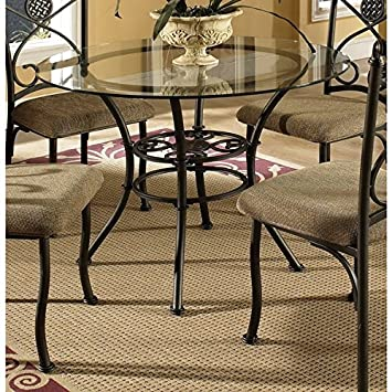 Greyson Living Browning Glass Top And Brown Powder Coated Metal Dining Table