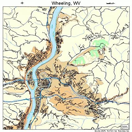 Amazon.com: Image Trader Large Street & Road Map of Wheeling ... on map of seneca rocks wv and surrounding area, map of ohio and west virginia, map of wheeling west virginia showing, map of triadelphia wv,