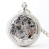 Zxcvlina Classic Smooth Exquisite Silvery Retro Mechanical Pocket Watch Copper Carved Unisex Pocket Watch with Chain for Gift Suitable for Gift Giving