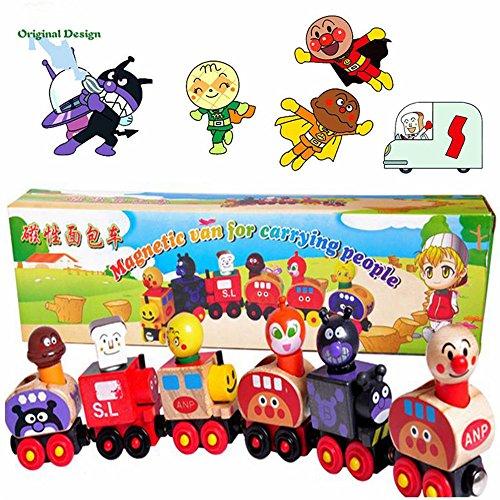 Zhenyu Small磁気列車セット可愛い漫画子供教育玩具木製玩具磁気列車おもちゃfor赤ちゃんギフトの商品画像