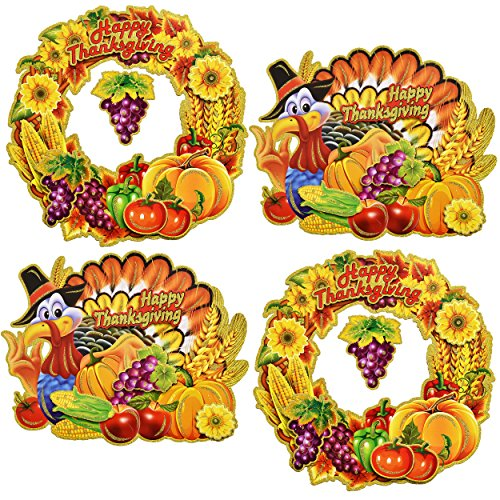 Thanksgiving Cut Out Decorations (Happy Thanksgiving Cutout Hanging Decorations Harvest Autumn Turkey and Wreath Signs Fall Party Favor Supplies, 16 Inch By Gift Boutique)
