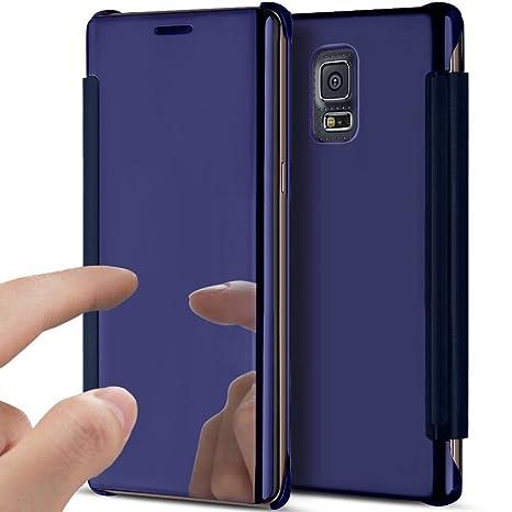 Carcasa Samsung Galaxy S5, funda Samsung Galaxy S5, jawseu cristal claro chapado espejo carcasa folio de piel funda funda para teléfono protectora ...