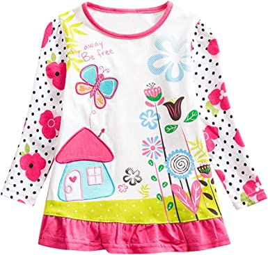 MEIbax Moda otoño e Invierno niños niña bebé Bordado Camisa de Manga Larga Camiseta Cuello Redondo Casual niñas Sueltas Vestido Ropa de niños: Amazon.es: Ropa y accesorios