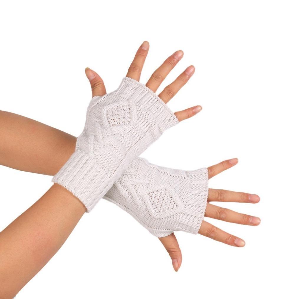 SMTSMT Women's Soft Knitted Arm Sleeve Fingerless Gloves (White)