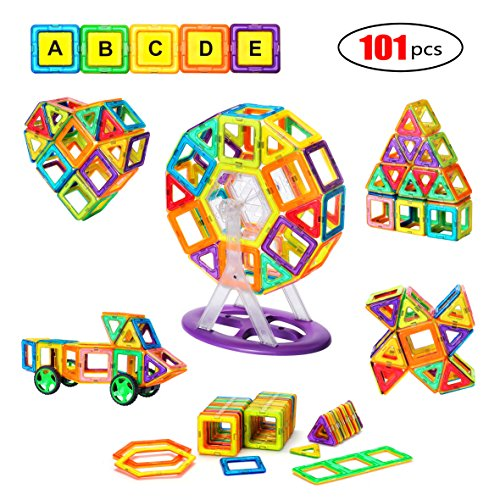 Pickup Sticks Letter - Magnetic Blocks, Magnetic Tile 101 PCS Set Magnet Building Construction Toys Educational Toys for Kids Boys and Girls Minto Toy