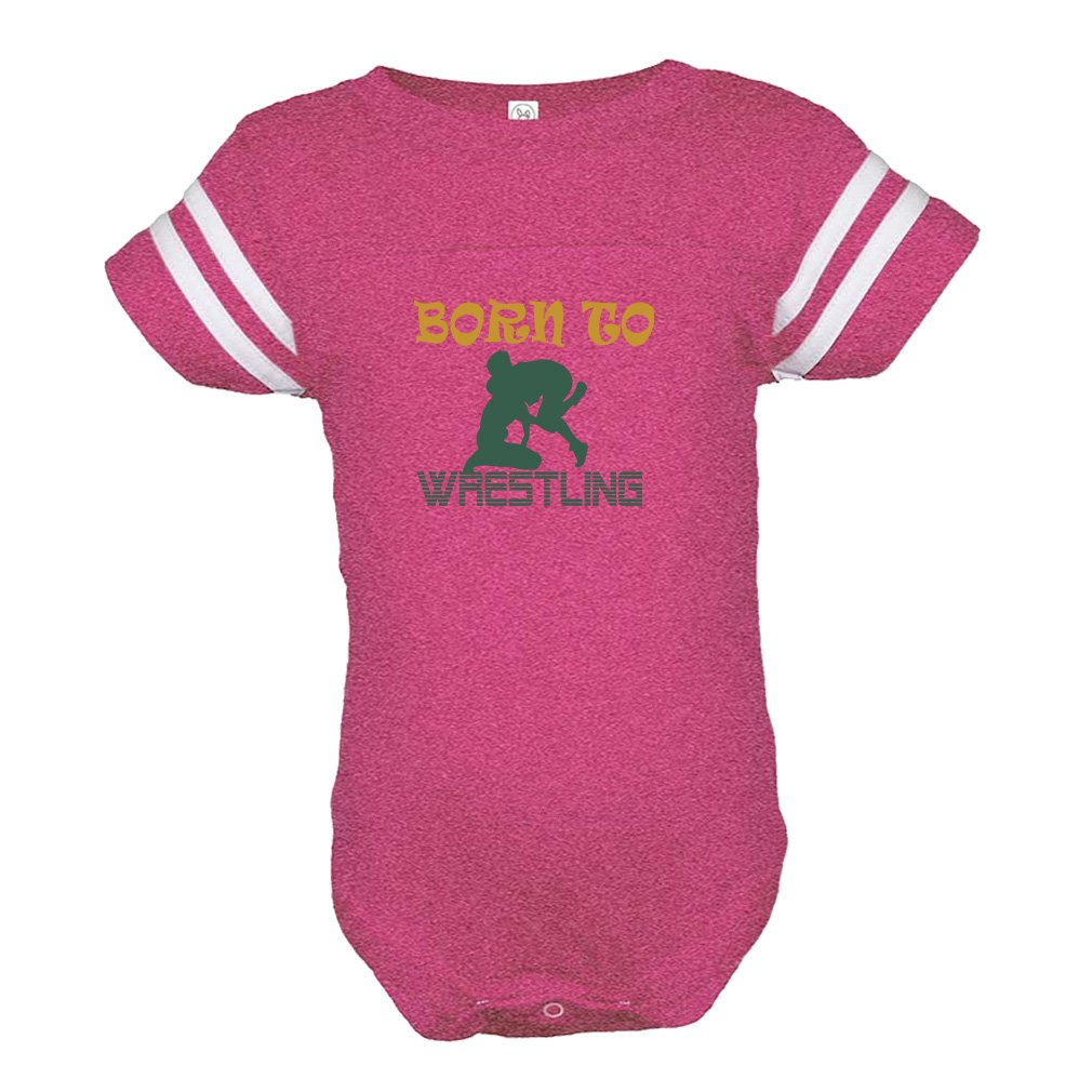 Cute Rascals Born to Wrestling Sport Combed Ring-Spun Cotton Tapped Neck Unisex Baby Sports Bodysuit Football Jersey - Hot Pink, 12 Months by Cute Rascals