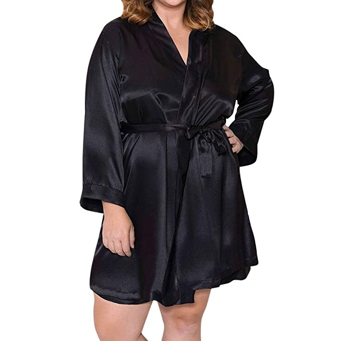 DEATU Clearance Ladies Bathrobe Plus Size Silk Lace Nightdress Nightgown  Sleepwear for Women Sale(Black 2843a6085
