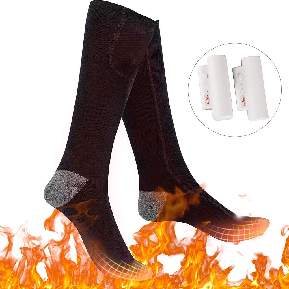 Upgraded Heated Socks Electric Rechargeable Battery 3 Levels Heating Settings Thermal Heating Sock for Men Women Camping Foot Warmers for Riding,Skiing,Motorcycling,Shoveling Snow