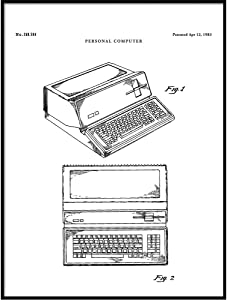 Apple Computer Patent Print Art 1983, Steve Jobs, Computer Decor, Geek Art, Nerd Art, Programmer Gift, QP433